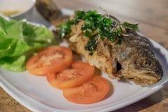 Τηγανισμένη πέστροφα ουράνιων τόξων, ταϊλανδικά τρόφιμα Στοκ Εικόνες
