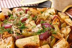 τηγανισμένη πατάτα χοιρινο Στοκ φωτογραφία με δικαίωμα ελεύθερης χρήσης