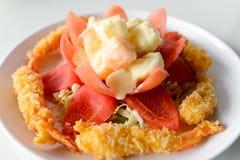 Τηγανισμένη σαλάτα γαρίδων και φρούτων Στοκ Εικόνες