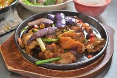 Τηγανισμένη τηγάνι μελιτζάνα χοιρινού κρέατος στοκ εικόνες