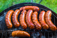 Τηγανισμένη BBQ σχάρα λουκάνικων Στοκ Εικόνες