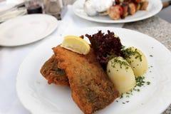 Τηγανισμένος κυπρίνος με τις πατάτες Στοκ Εικόνες