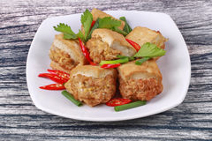 Τηγανισμένος χρυσός φραγμός ως πικάντικο τηγανισμένο tofu κομματιασμένο περικάλυμμα χοιρινό κρέας Στοκ Εικόνα