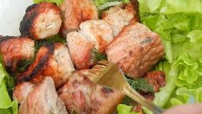 Τηγανισμένος kebab με την κινηματογράφηση σε πρώτο πλάνο μαρουλιού φιλμ μικρού μήκους
