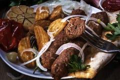 Τηγανισμένος kebab kebab με ψημένα στη σχάρα τη λαχανικά σάλτσα, το κρεμμύδι και τα καρυκεύματα σχάρα Στοκ Εικόνες