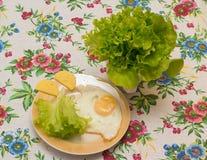 Τηγανισμένο αυγό με το τυρί και το μαρούλι Στοκ Εικόνες