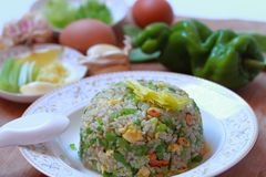 τηγανισμένο αυγό ρύζι Στοκ Εικόνες