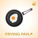 Τηγανισμένο αυγό σε ένα τηγανίζοντας τηγάνι σε ένα υπόβαθρο επίσης corel σύρετε το διάνυσμα απεικόνισης Στοκ φωτογραφία με δικαίωμα ελεύθερης χρήσης