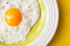 Τηγανισμένο αυγό στο άσπρος-πράσινο πιάτο στο κίτρινο υπόβαθρο Στοκ εικόνες με δικαίωμα ελεύθερης χρήσης
