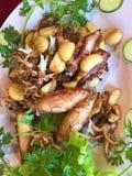 Τηγανισμένο καλαμάρι με το πιπέρι σκόρδου, που ολοκληρώνεται με το αγγούρι και το κορίανδρο Στοκ φωτογραφία με δικαίωμα ελεύθερης χρήσης