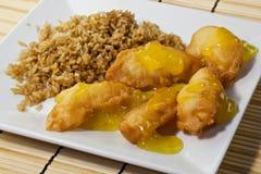 τηγανισμένο κοτόπουλο ρύ&z Στοκ Εικόνα