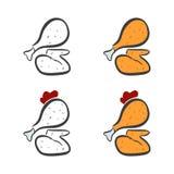 Τηγανισμένο κοτόπουλο στο άσπρο υπόβαθρο - διανυσματική απεικόνιση Στοκ Εικόνες