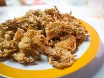 Τηγανισμένο μανιτάρι στο πιάτο Στοκ Εικόνες