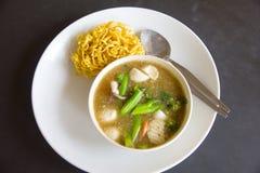 Τηγανισμένο νουντλς με το χοιρινό κρέας και κατσαρό λάχανο που ενυδατώνεται στο ζωμό - εικόνα αποθεμάτων Στοκ Φωτογραφία