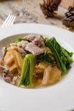 Τηγανισμένο νουντλς με το χοιρινό κρέας και κατσαρό λάχανο που ενυδατώνεται στο ζωμό Στοκ φωτογραφία με δικαίωμα ελεύθερης χρήσης