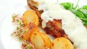 Τηγανισμένο πιάτο ψαριών με τη σάλτσα απόθεμα βίντεο