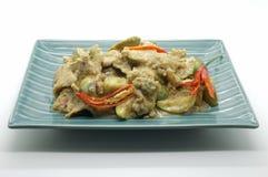 Τηγανισμένο πράσινο κάρρυ με το χοιρινό κρέας και τη μελιτζάνα, ταϊλανδικά τρόφιμα Στοκ Φωτογραφία