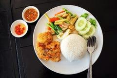 Τηγανισμένο ρύζι κοτόπουλου με το σουσάμι Στοκ Εικόνες