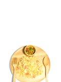 Τηγανισμένο ρύζι με το ζυμωνομμένο χοιρινό κρέας που απομονώνεται Στοκ φωτογραφία με δικαίωμα ελεύθερης χρήσης