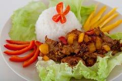 τηγανισμένο ρύζι χοιρινού κρέατος κομματιών Στοκ Φωτογραφία