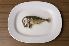 Τηγανισμένο σκουμπρί στο άσπρο πιάτο Στοκ Φωτογραφίες