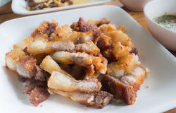 Τηγανισμένο streaky χοιρινό κρέας με το άλας Στοκ εικόνα με δικαίωμα ελεύθερης χρήσης