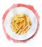 Τηγανιτές πατάτες σε ένα πιάτο στο κόκκινο υπόβαθρο κορυφαία όψη Συρμένη χέρι απεικόνιση watercolor Στοκ Εικόνες