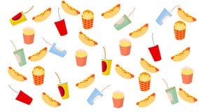 Τηγανιτές πατάτες, χοτ-ντογκ και ποτό στο άσπρο υπόβαθρο ελεύθερη απεικόνιση δικαιώματος