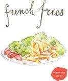 Τηγανιτές πατάτες Watercolor ελεύθερη απεικόνιση δικαιώματος