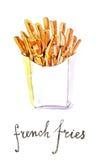 Τηγανιτές πατάτες Watercolor Στοκ εικόνα με δικαίωμα ελεύθερης χρήσης