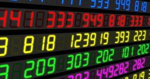 Τηλέτυπα χρηματιστηρίου Μπλε-πορτοκάλι και κόκκινος-πράσινο Ψηφιακή ζωτικότητα των τιμών αγοράς αποθεμάτων που περνούν από απεικόνιση αποθεμάτων