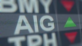 Τηλέτυπο αποθεμάτων της American International Group AIG Εκδοτική τρισδιάστατη απόδοση ελεύθερη απεικόνιση δικαιώματος