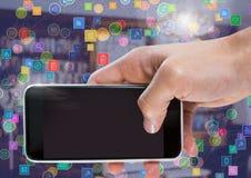 Τηλέφωνο εκμετάλλευσης χεριών με τους συνδετήρες εικονιδίων Στοκ Φωτογραφίες