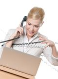τηλέφωνο καλωδίων επιχειρηματιών που δένεται Στοκ Φωτογραφία