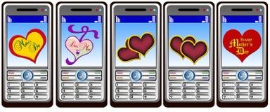 τηλέφωνο της Mobil καρδιών Στοκ Φωτογραφίες