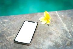 Τηλέφωνο Χ αφής με την απομονωμένη οθόνη στο υπόβαθρο της λίμνης και του τροπικού λουλουδιού στοκ εικόνα με δικαίωμα ελεύθερης χρήσης