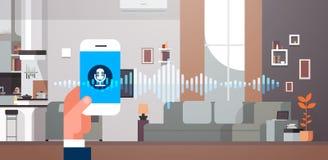 Τηλέφωνο app λαβής χεριών ευφυής φωνή προσωπικό βοηθητικό καθιστικό αναγνώρισης εσωτερικό υπόβαθρο υγιή κύματα ελεύθερη απεικόνιση δικαιώματος
