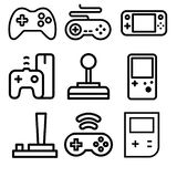 Τηλεοπτικά εικονίδια vectra κονσολών τυχερού παιχνιδιού και παιχνιδιών απεικόνιση αποθεμάτων