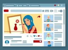 Τηλεοπτική σελίδα Blogger επίπεδη ελεύθερη απεικόνιση δικαιώματος