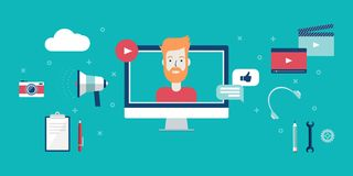 Τηλεοπτική blogging έννοια Στοκ εικόνα με δικαίωμα ελεύθερης χρήσης