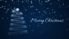 Τηλεοπτικός χαιρετισμός Χαρούμενα Χριστούγεννας Χριστουγεννιάτικο δέντρο από τα μόρια, που εξασθενίζουν από από κατω έως επάνω Με ελεύθερη απεικόνιση δικαιώματος