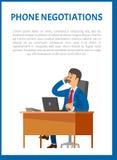 Τηλεφωνικές διαπραγματεύσεις διανυσματική αφίσα Κύριος ηγέτης ελεύθερη απεικόνιση δικαιώματος