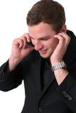τηλεφωνικές ομιλούσες νεολαίες ατόμων σακακιών Στοκ φωτογραφίες με δικαίωμα ελεύθερης χρήσης