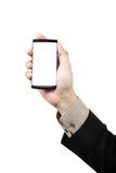 τηλεφωνική έξυπνη αφή εκμετάλλευσης χεριών Στοκ Εικόνα