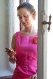 τηλεφωνική γυναίκα κυττάρων Στοκ Εικόνα