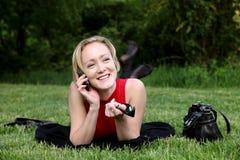 τηλεφωνική γυναίκα της Mobil Στοκ Φωτογραφία