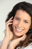 τηλεφωνική γυναίκα brunette Στοκ Φωτογραφίες