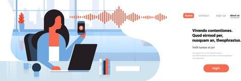 Τηλεφωνική ευφυής φωνή λαβής επιχειρηματιών προσωπικό βοηθητικό εσωτερικό γραφείων έννοιας τεχνολογίας αναγνώρισης soundwaves διανυσματική απεικόνιση