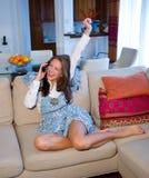 τηλεφωνικός έφηβος κορι&t Στοκ Εικόνες