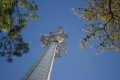 Τηλεφωνικός πύργος κυττάρων που φθάνει στον ουρανό Στοκ Εικόνες
